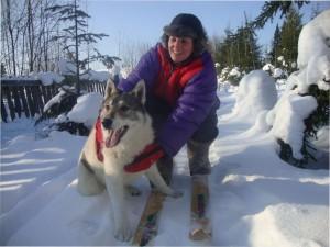 Лайка с человеком на снегу зимой
